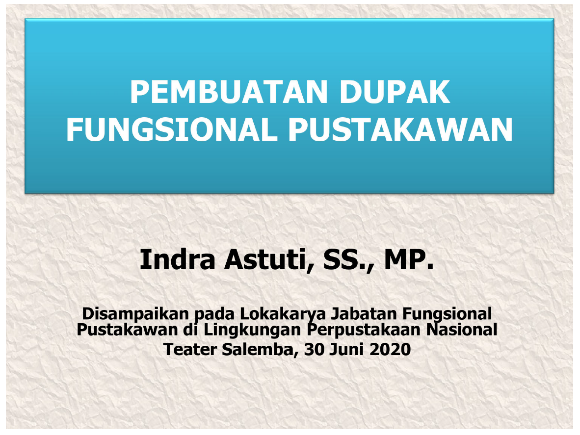 Koleksi Ebook Pustakawan Perpusnas RI judul Pembuatan DUPAK Jabatan Fungsional  Pustakawan